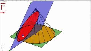 Intersection plan cone avec Geogebra