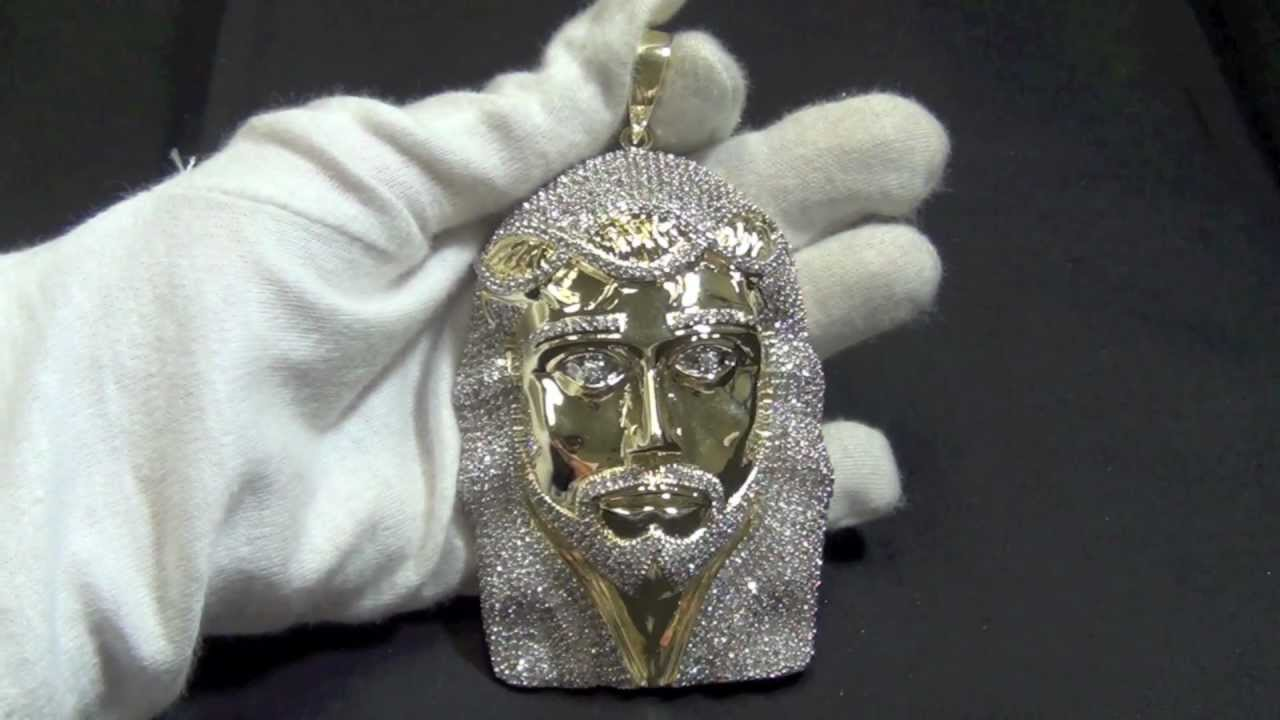 Jumbo custom jesus piece all lab made micro pave set for Custom lab made hip hop jewelry