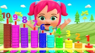 Learning Colors & Numbers for Children with Little Baby Girl Fun Play Rings Toy Set 3D Kids Edu