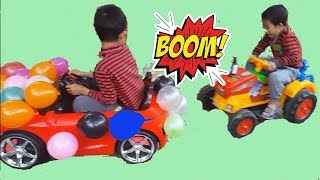 Kids Play Balloon Cars and Challenge Driving On the Road