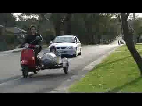 Orla Drift in Vespa Sidecar