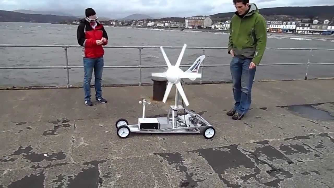 Wind Turbine Powered Car Test - YouTube