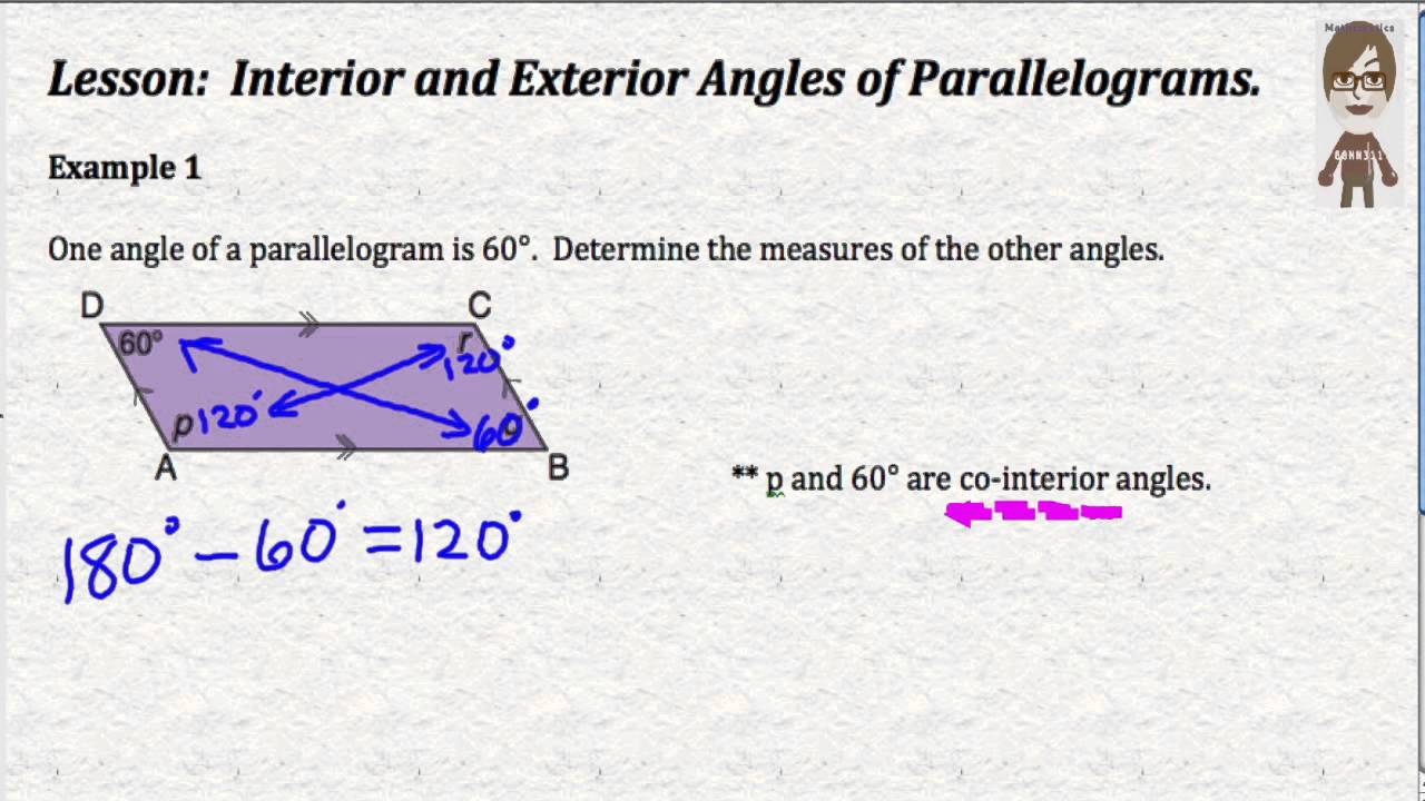 Interior And Exterior Angles Of Parallelograms Youtube