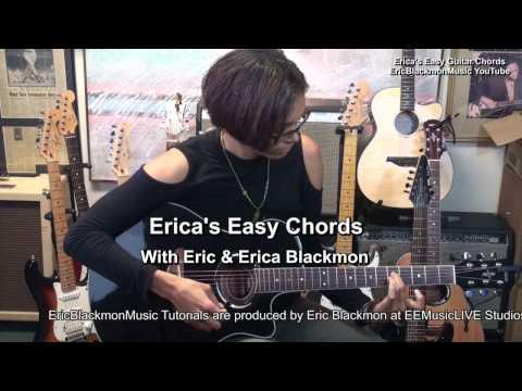 Dmaj9 Erica's EASY Chords On Guitar #2 EricBlackmonMusicHD TABS + Theory