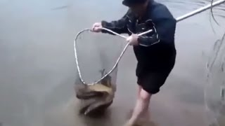 Amazing fishing in lake