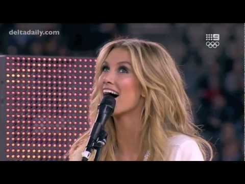 Delta Goodrem performs 'Sitting on Top of the World' at the State of Origin in Melbourne