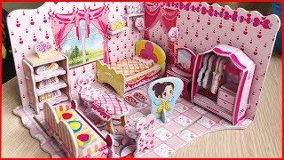 Đồ chơi trẻ em Nhà búp bê bằng giấy có giường, tủ áo,bàn trang điểm, kệ sách, ghế sofa..(Chim Xinh)