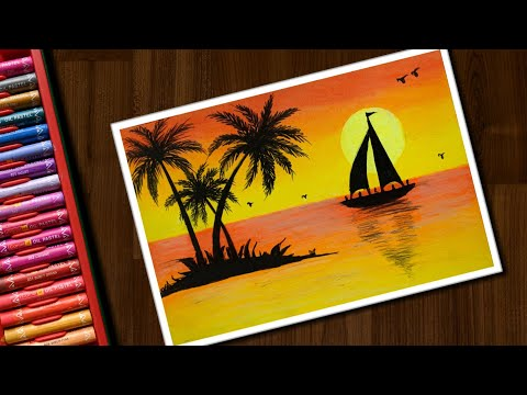 How to Draw Sunset Scenery 2 for beginners with Oil Pastels step by step
