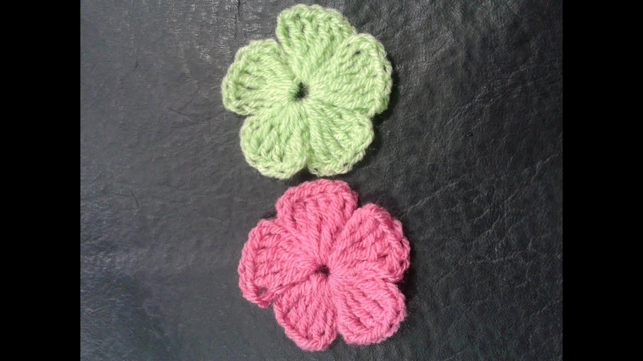 Como tejer flores de 5 petalos a crochet muy facil how - Como hacer flores ...