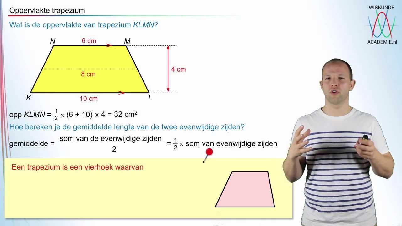 Oppervlakte van een trapezium wiskundeacademie youtube for Trap berekenen formule