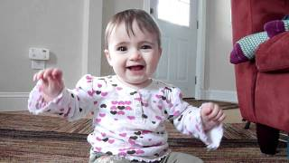 8 month old baby girl discovers her voice funny singing