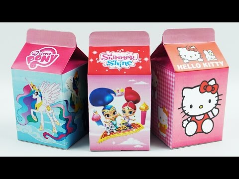 Learn Colors with Milk Carton Surprise Toys, Shimmer and Shine, My Little Pony, Hello Kitty