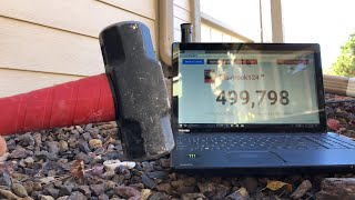 SMASHING THIS LAPTOP AT 500K SUBS - LIVE