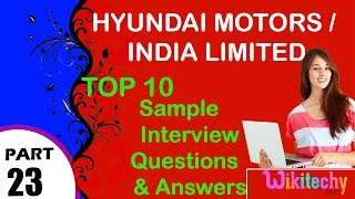 hyundai motors | India Limited important interview questions and answers for freshers