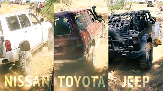 Toyota Land Cruiser, Nissan Patrol  and Jeep Wrangler offroading 4x4