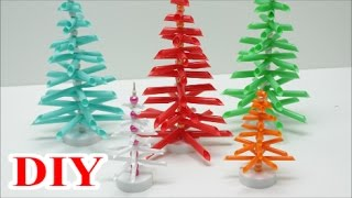Best out of Waste Crafts Ideas: DIY Drinking Straws Christmas Tree - Recycled Bottles Crafts