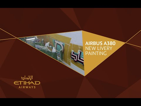 Etihad Airways - A380 - New Livery Painting Time-lapse