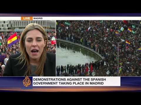 Anti-austerity protesters march in Spain