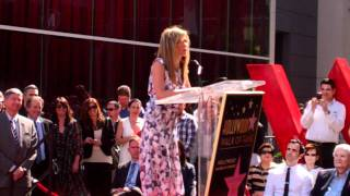Jennifer Aniston speaking at her Hollywood Walk of Fame Inauguration ceremony