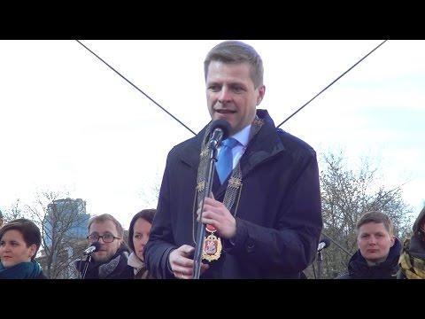 Vilniaus mero Remigijaus Šimašiaus inauguracija prie Baltojo tilto