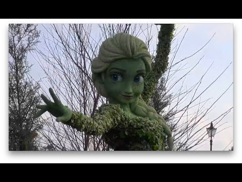 Frozen Anna and Elsa Topiary featured at Disney's Epcot Flower and Garden Festival 2015