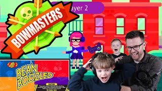 BOWMASTERS BEAN BOOZLED SHOWDOWN! | Kids Lets Play Funny Moments IOS Multiplayer Gameplay | Game On