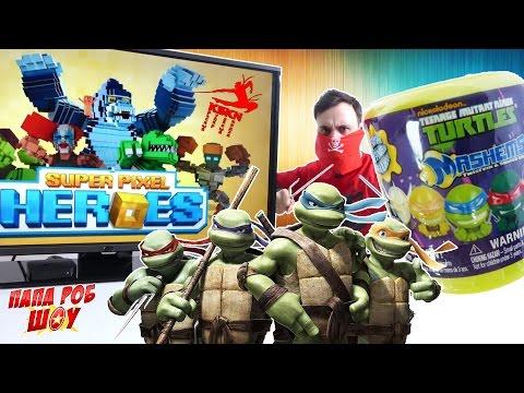 Красный Супер Клевый Ниндзя и Черепашки Обзор игры Super Pixel Heroes #Челлендж на Папа Роб Шоу