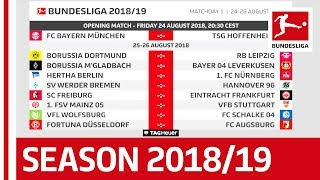 Bundesliga 2018/19 Schedule Release