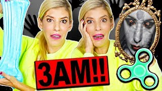 TRYING VIRAL TRENDS AT 3AM!! (FLUFFY SLIME, FIDGET SPINNERS, TRY NOT TO FLINCH CHALLENGE)