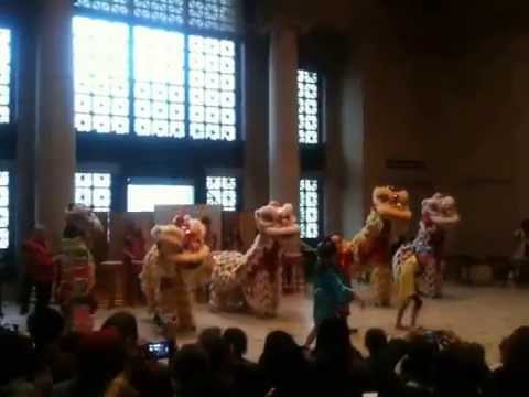 Chinese American International School students presenting the Lion Dance 2014 Year of the Horse