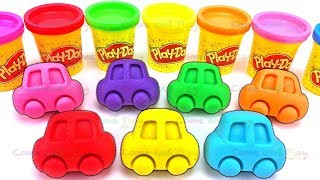 Learn Colors with 7 Play Doh Cars and Cookie Cutter Molds