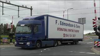 Trucks, and a few trains  at railroad crossing Hoek van Holland, NL, 20 SEP 2013, part 8 of 10.
