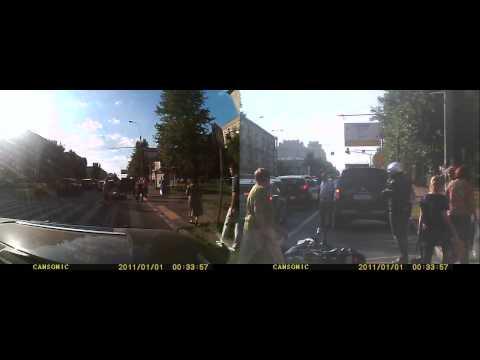 Мото vs Авто. Mitsubishi pajero подрезал Kawasaki er-6n
