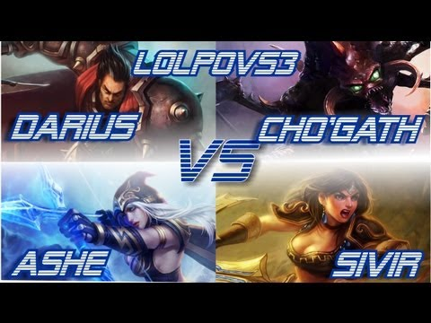 ► LoLPoV - Darius and Cho'Gath vs Ashe and Sivir [KILL LANE] (League of Legends Live Commentary)
