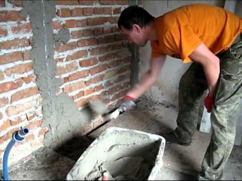 Как оштукатурить гараж видео