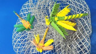 How to make a dragonfly 3d origami (modular origami) video lesson