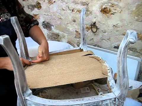 Cabriolet louis xv tape 003 sanglage dans la profondeur 2 4 youtube - Customiser une chaise ...