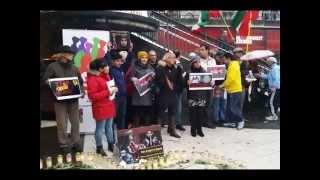 حرکت اعتراضی به اسید پاشی به زنان ؛ دختران و هم دردی با خانواده ریحانه جباری - استکهلم ٢٠١٤/١٠/٢٥