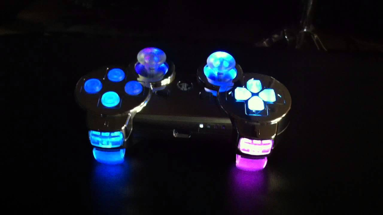 Modded PS3 Controller - 7 color changing LED - rapid fire ... H20 Delirious Controller