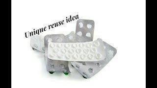 Reuse DIY idea with empty medicine stripes   Making earrings   jewellery tutorials
