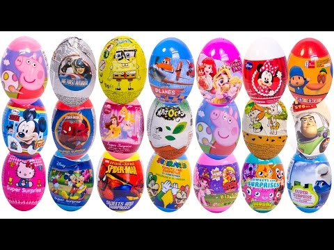 SURPRISE EGGS PEPPA PIG MICKEY MOUSE MINNIE MOUSE МASHA AND THE BEAR POCOYO SPIDERMAN PLAY DOH EGGS