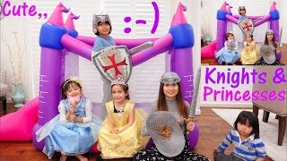 Disney Princesses and Knights Castle Pretend Play. Little Tikes Princess Bouncer Playtime
