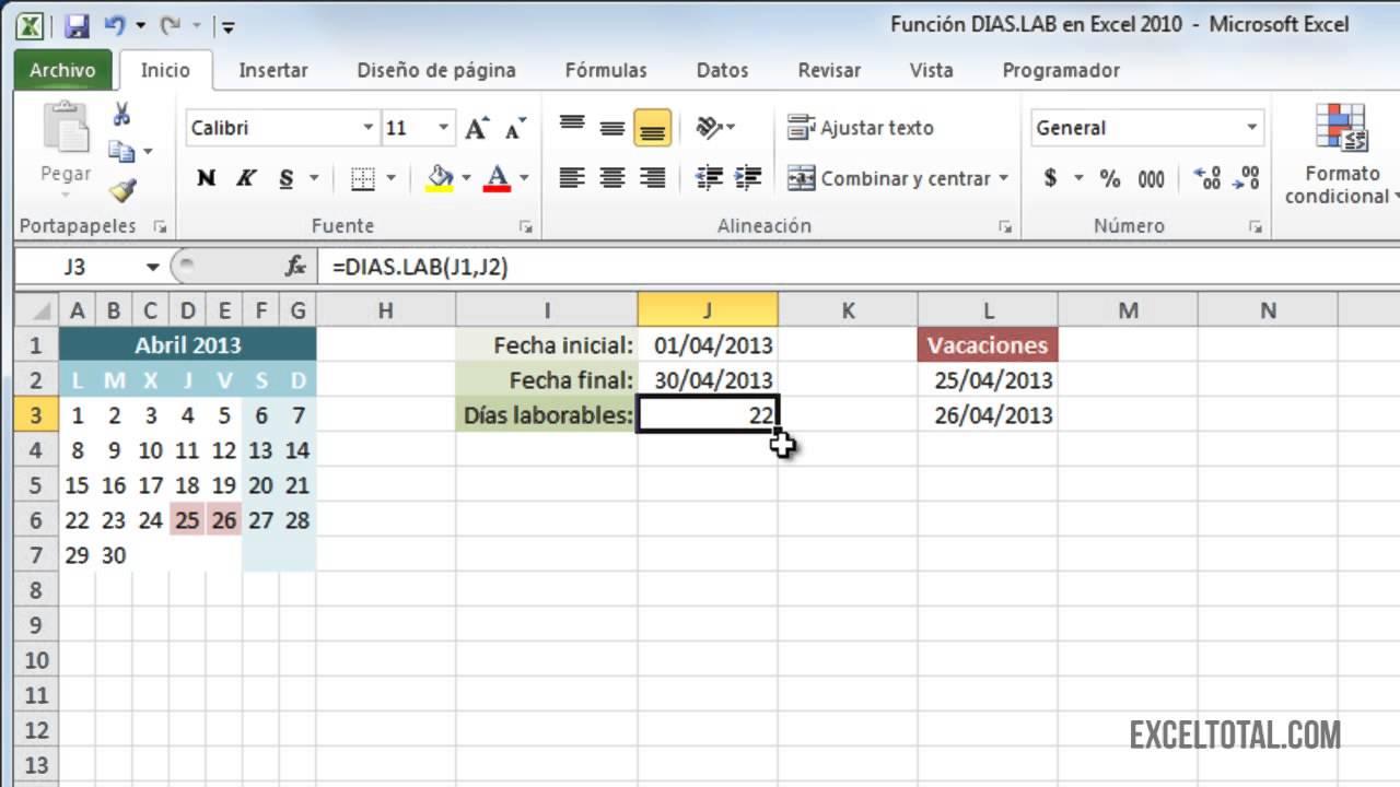 Función DIAS.LAB en Excel 2010 - YouTube