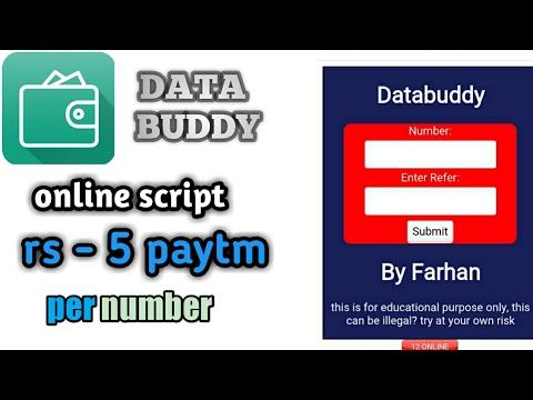 data buddy online refer& earn script get rs- 5 paytm cash per number