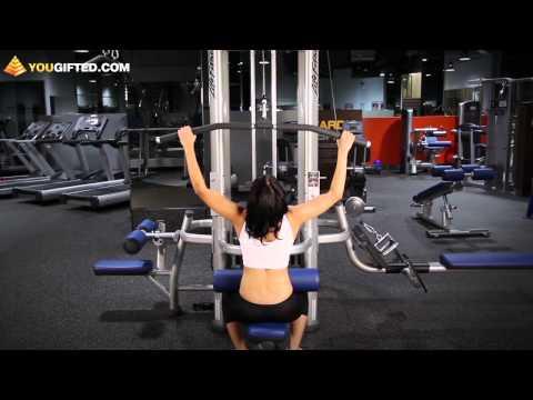 Фитнес. Упражнения для спины. Тяга верхнего блока.
