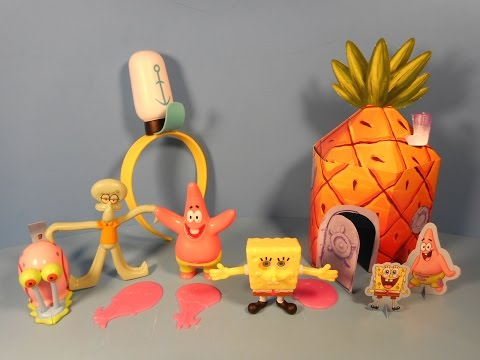 2014 Nickelodeon's Spongebob Squarepants Set Of 7 Sonic Drive-in Kid's Meal Toy's Video Review video
