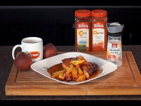 Brown Sugar Rubbed Chicken with Caramelized Peaches