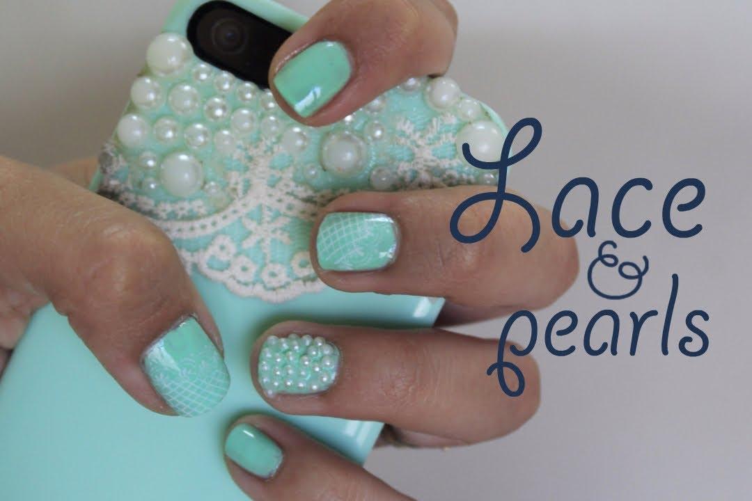 Uñas con encaje y perlas / Nails with pearls and lace ...