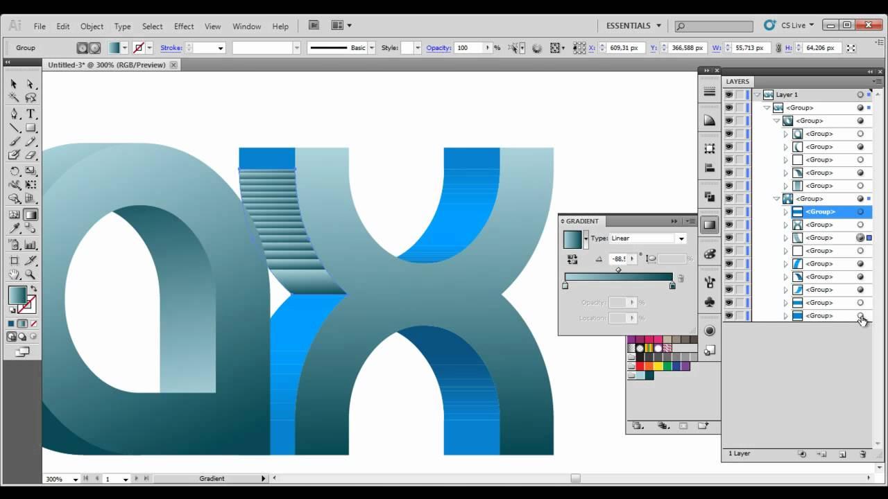 3D Logo/text illustrator tutorial - YouTube