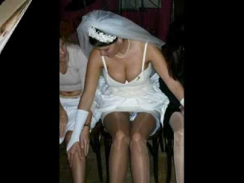 Brides Wearing White Nylon Stockings
